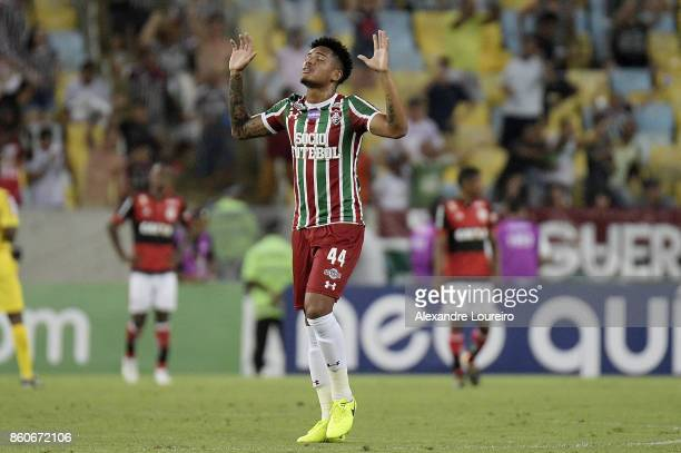 Richard of Fluminense reacts during the match between Flamengo and Fluminense as part of Brasileirao Series A 2017 at Maracana Stadium on October 12...