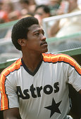 R Richard of the Houston Astros looks up into the stands from the dugout during an Major League Baseball game circa 1978 JR Richard played for Astros...