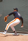 R Richard of the Houston Astros pitches in the bullpen prior to the start of a Major League Baseball game circa 1978 JR Richard played for Astros...
