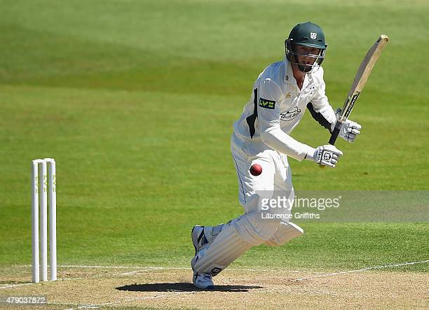 Richard Oliver of Worcestershire hits out to the boundary during day two of the LV County Championship match between Nottinghamshire and...