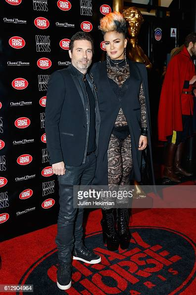 Richard Orlinski and guest attend the Chantal Thomass' Show at Le Crazy Horse on October 5 2016 in Paris France