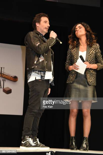 Richard Orlinski and Laurence Roustandjeethe attend 'Salon Du Chocolat 2017 Chocolate Fair' Auction Show in Benefit of Mecenat Chirurgie Cardiaque at...