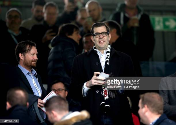 Richard Osman in the stands during the Emirates FA Cup Fifth Round match at Craven Cottage London