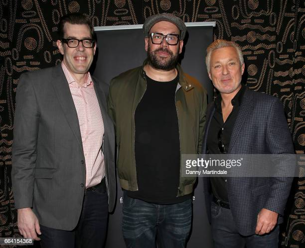 Richard Osman Tom Davis and Martin Kemp attends the screening of Murder In Successville on April 3 2017 in London United Kingdom