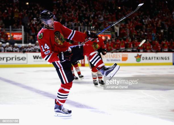 Richard Panik of the Chicago Blackhawks celebrates a third period goal against the Colorado Avalanche at the United Center on March 19 2017 in...
