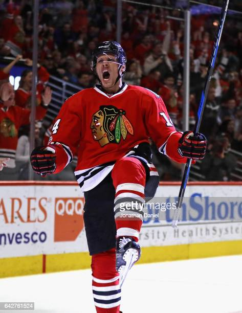Richard Panik of the Chicago Blackhawks celebrates scoring a third period goal against the Edmonton Oilers at the United Center on February 18 2017...