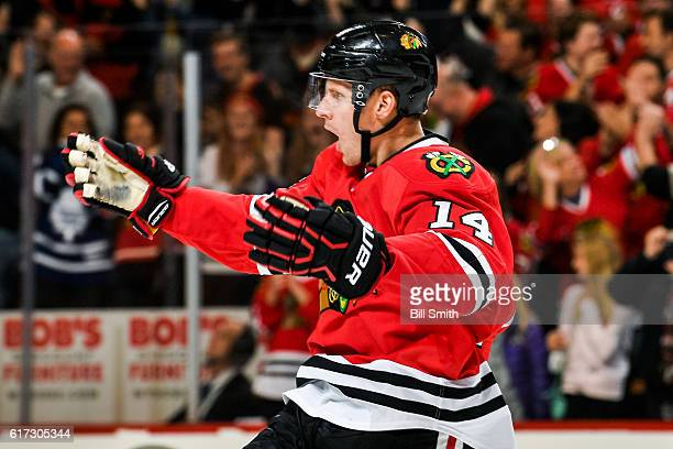 Richard Panik of the Chicago Blackhawks reacts after scoring against the Toronto Maple Leafs in the third period to tie the game at the United Center...