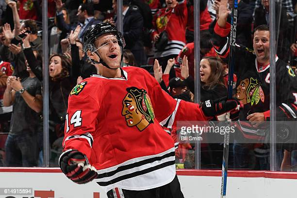 Richard Panik of the Chicago Blackhawks reacts after scoring the Blackhawks third goal against the Nashville Predators in the first period at the...