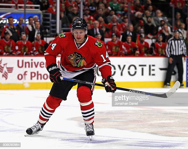 Richard Panik of the Chicago Blackhawks skates against the Montreal Canadiens at the United Center on January 17 2016 in Chicago Illinois The...