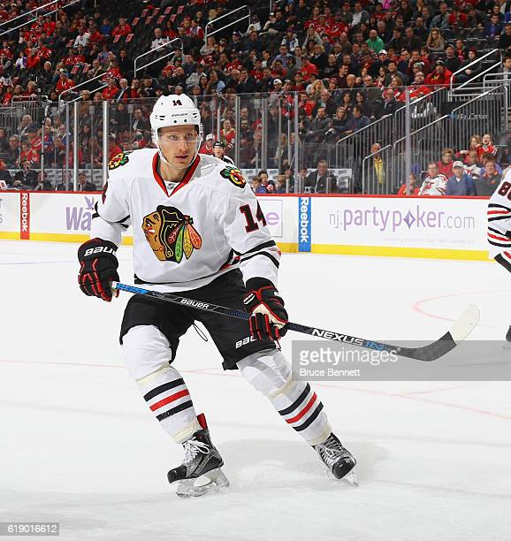 Richard Panik of the Chicago Blackhawks skates against the New Jersey Devils at the Prudential Center on October 28 2016 in Newark New Jersey