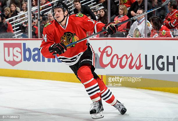 Richard Panik of the Chicago Blackhawks skates during the third period of the NHL game against the Minnesota Wild at the United Center on March 20...