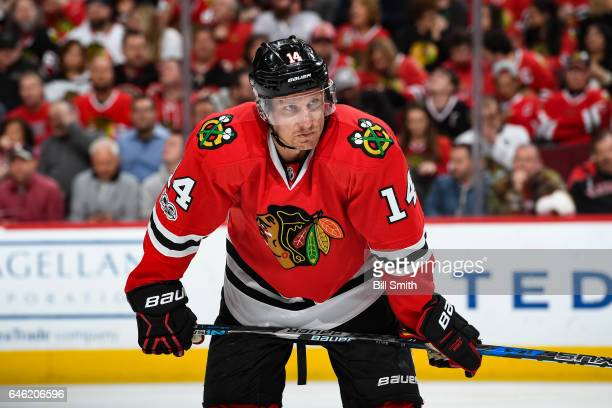 Richard Panik of the Chicago Blackhawks waits for play to begin in the third period against the Edmonton Oilers at the United Center on February 18...