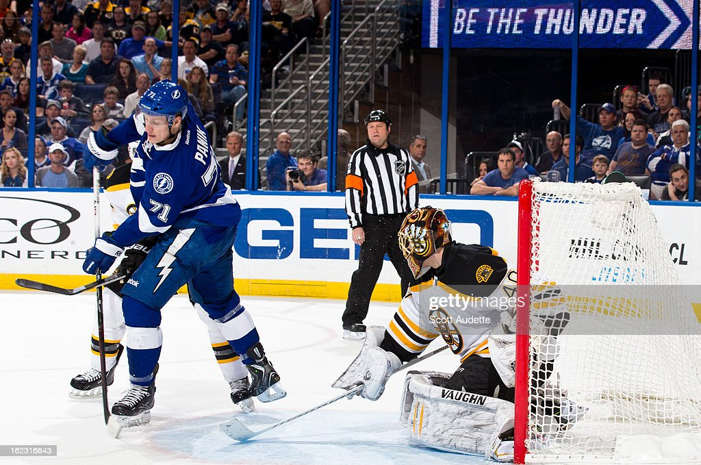 Richard Panik #71 of the Tampa Bay Lightning passes the puck during the third period of the game against the Boston Bruins at the Tampa Bay Times Forum on February 21, 2013 in Tampa, Florida.