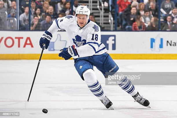 Richard Panik of the Toronto Maple Leafs skates against the Columbus Blue Jackets on April 8 2015 at Nationwide Arena in Columbus Ohio