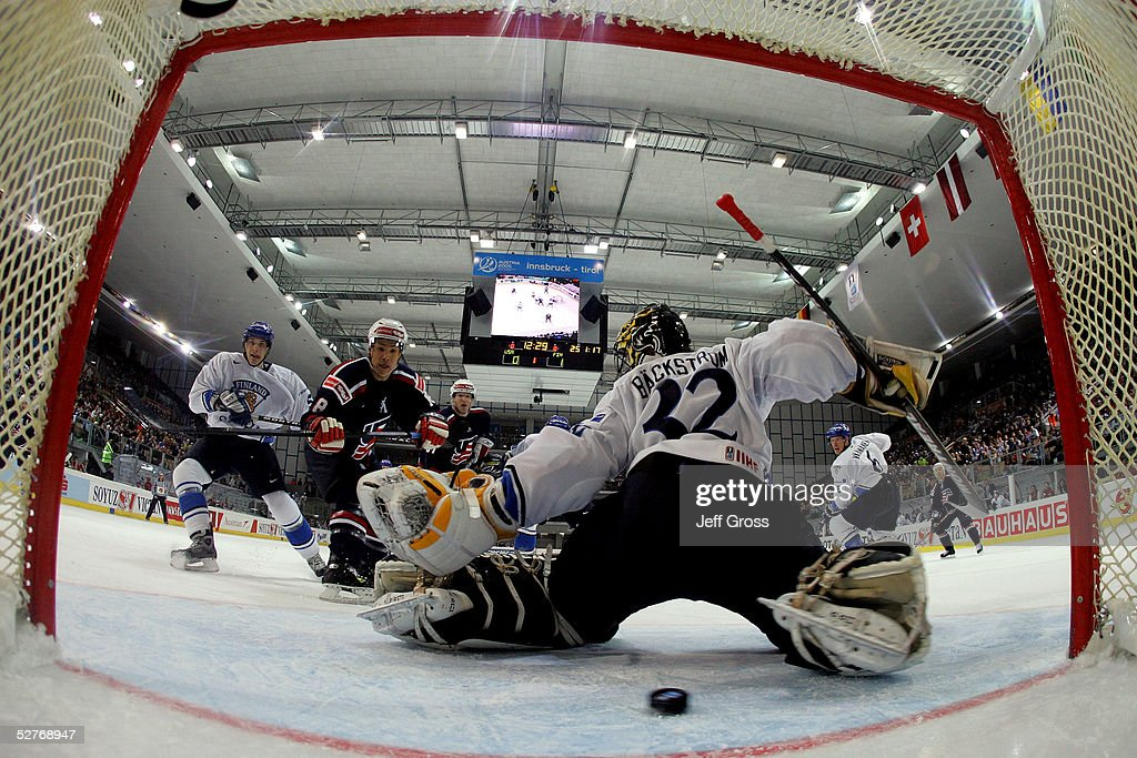 Richard Park of the USA takes a shot past goalkeeper Niklas Backstrom of Finland to score in the first period of the IIHF World Men's Championships...