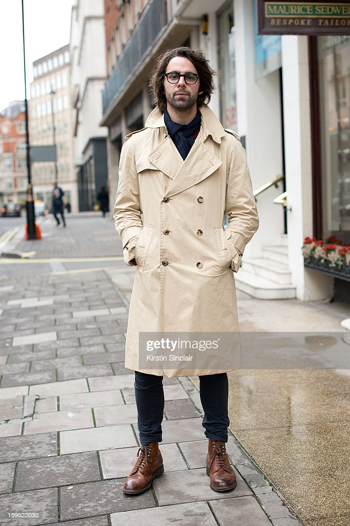 Richard Peckett fashion writer for Metro international wearing an Emmanuel Ungaro trench coat, Monkee trousers, Cheaney shoes, Richard James scarf and a Prada sweater on day 3 of London Mens Fashion Week Autumn/Winter 2013, on January 09, 2013 in London, England.