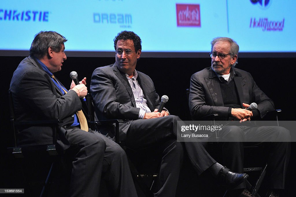 Richard Pena, <a gi-track='captionPersonalityLinkClicked' href=/galleries/search?phrase=Tony+Kushner&family=editorial&specificpeople=209161 ng-click='$event.stopPropagation()'>Tony Kushner</a> and Director <a gi-track='captionPersonalityLinkClicked' href=/galleries/search?phrase=Steven+Spielberg&family=editorial&specificpeople=202022 ng-click='$event.stopPropagation()'>Steven Spielberg</a> speak onstage at NYFF 50th Anniversary surprise screening of Lincoln at Alice Tully Hall on October 8, 2012 in New York City.
