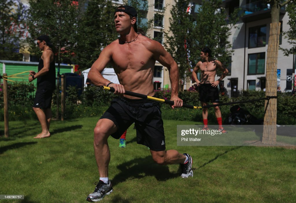 Richard Petherick of the New Zealand mens hockey team exercises inside the Olympic Village ahead of the London 2012 Olympic Games on July 26 2012 in...