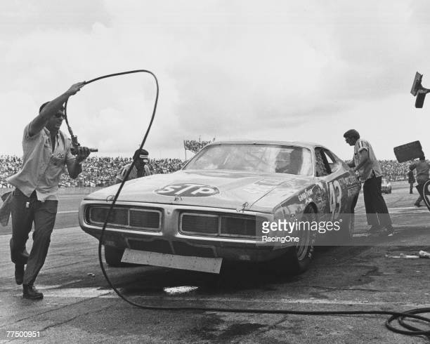Richard Petty driver of the STP Dodge is in the pits during the 1973 NASCAR Winston Cup Capital City 500 at the Richmond International Raceway on...