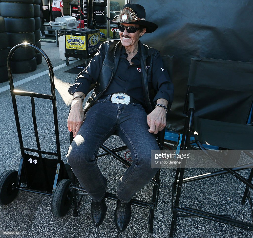 Richard Petty relaxes in the garage area at Daytona International Speedway in Daytona Beach, Fla., on Friday, Feb. 12, 2016.