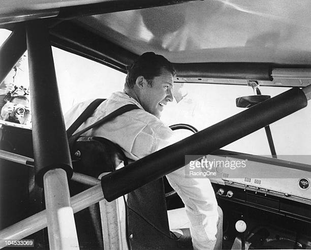 Richard Petty sits in the cockpit of his NASCAR Cup car which shows the roll cage technology that was used in mid1960s racecar construction The...
