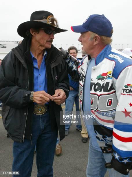 Richard Petty talks with actor and race Grand Marshall James Caan before the 2006 Daytona 500 at Daytona International Speedway in Daytona Florida on...