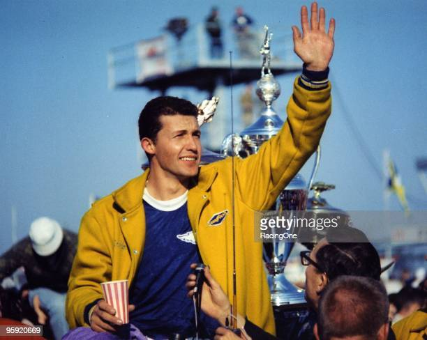 Richard Petty waves to the crowd after leading a 123 sweep by Plymouths in the Daytona 500 thrilling a sold out crowd of almost 70000 on February 23...