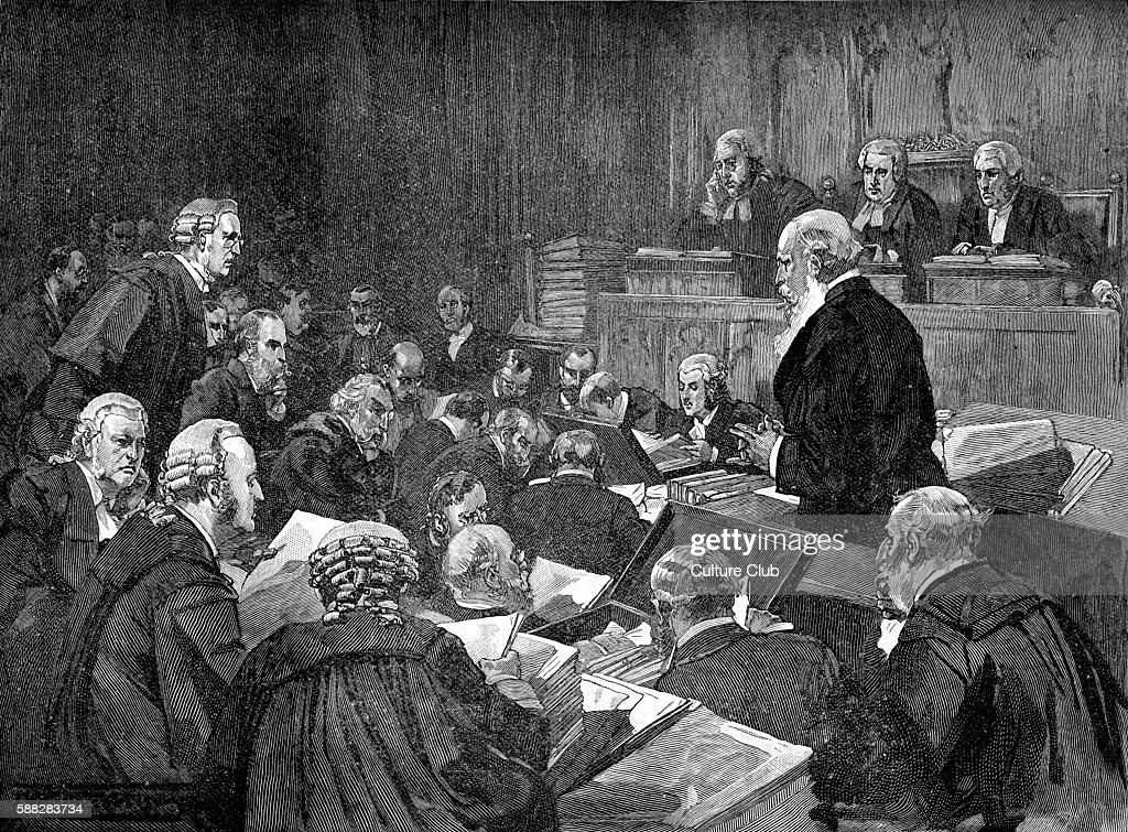 Richard Piggot under crossexamination at the Parnell Commission 1889 Scene from the judicial inquiry in the late 1880s into allegations made by...