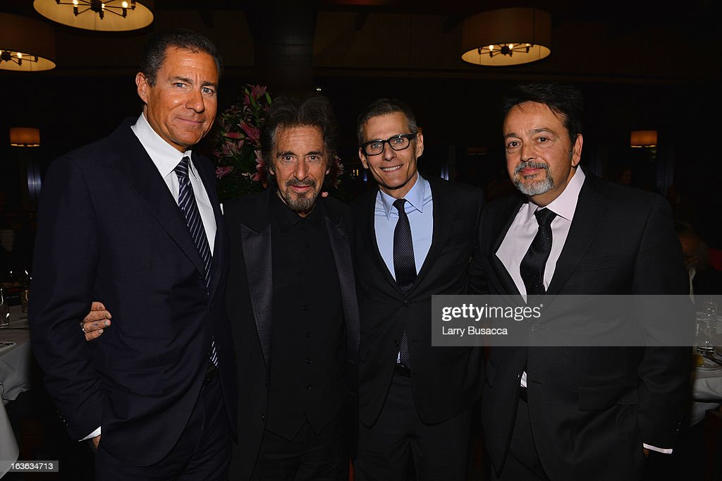 Richard Plepler, actor Al Pacino, HBO president of programming Michael Lombardo, and HBO Films president Len Amato attend the after party for the 'Phil Spector' premiere at the Time Warner Center on March 13, 2013 in New York City.
