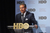 Richard Plepler addresses the audience during the HBO Documentary Films special screening of 'Manhunt' at Council on Foreign Relations on April 16...