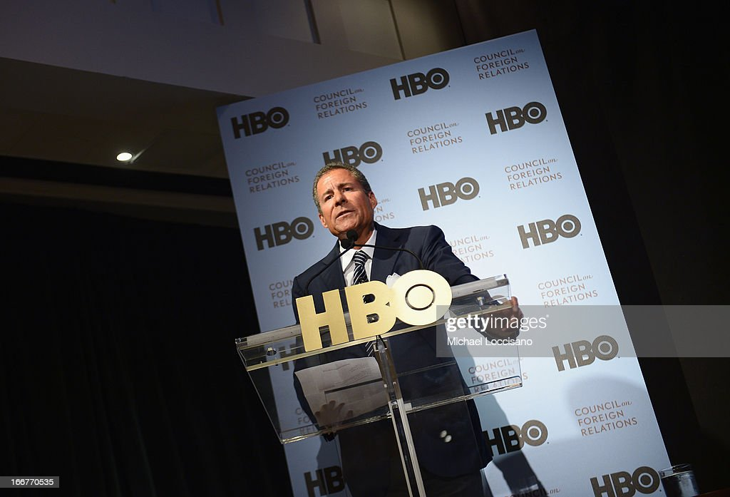 <a gi-track='captionPersonalityLinkClicked' href=/galleries/search?phrase=Richard+Plepler&family=editorial&specificpeople=584118 ng-click='$event.stopPropagation()'>Richard Plepler</a> addresses the audience during the HBO Documentary Films special screening of 'Manhunt' at Council on Foreign Relations on April 16, 2013 in New York City.