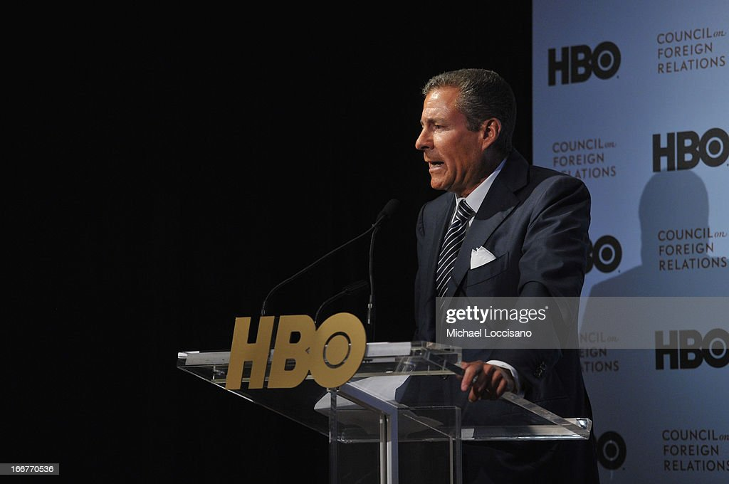 Richard Plepler addresses the audience during the HBO Documentary Films special screening of 'Manhunt' at Council on Foreign Relations on April 16, 2013 in New York City.