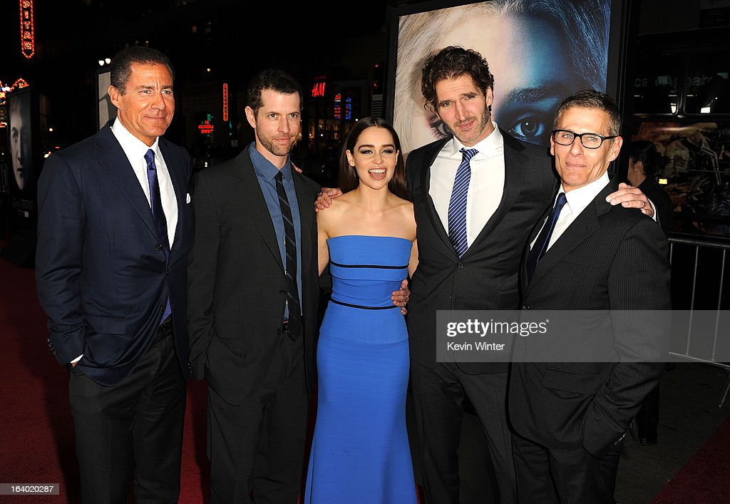 Richard Plepler, Creator/ Executive Producer D.B Weiss, actress Emilia Clarke, Creator/ Executive Producer David Benioff, and President HBO Programming Mike Lombardo arrive at the premiere of HBO's 'Game Of Thrones' Season 3 at TCL Chinese Theatre on March 18, 2013 in Hollywood, California.