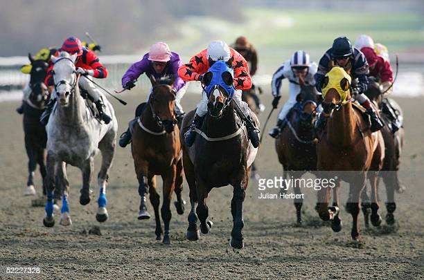Richard Quinn and the blinkered Hadath land The Play Game On On ITV Classified Claiming Stakes Race run at Lingfield Park Racecourse on February 22...