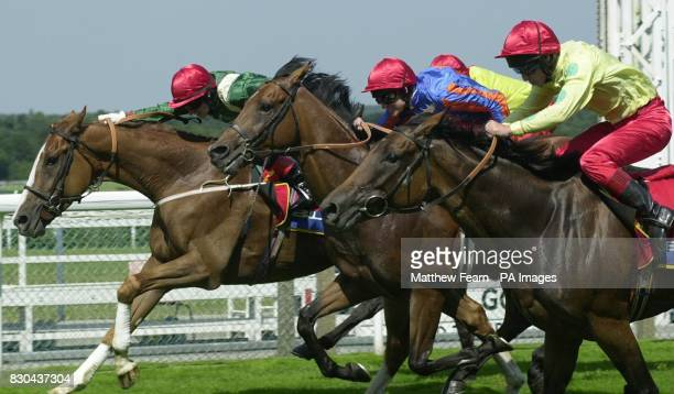 Richard Quinn leads Dominant Duchess home in first place from European team mates Mirco Demuro who came second on Spirit Of Love and Johnny Murtagh...