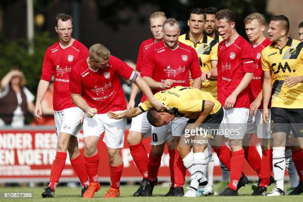 Richard Ramstijn of Madese Boys Giovanni Korte of NAC Breda during the friendly match between Madese Boys and NAC Breda at Sportpark De Schietberg on...