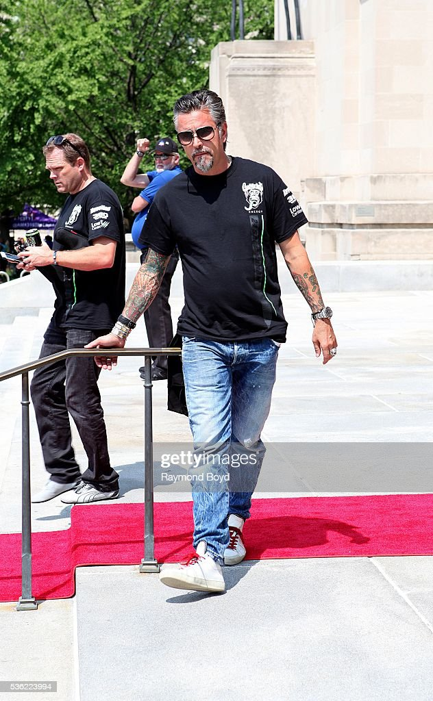 Richard Rawlings from Discovery Channel's 'Fast N' Loud' greets the media outside the Indianapolis Central Library during the Indianapolis 500...