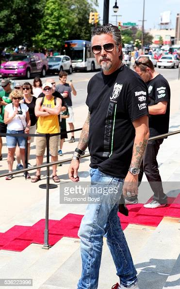 Richard Rawlings from Discovery Channel's 'Fast N' Loud' poses for photos outside the Indianapolis Central Library during the Indianapolis 500...