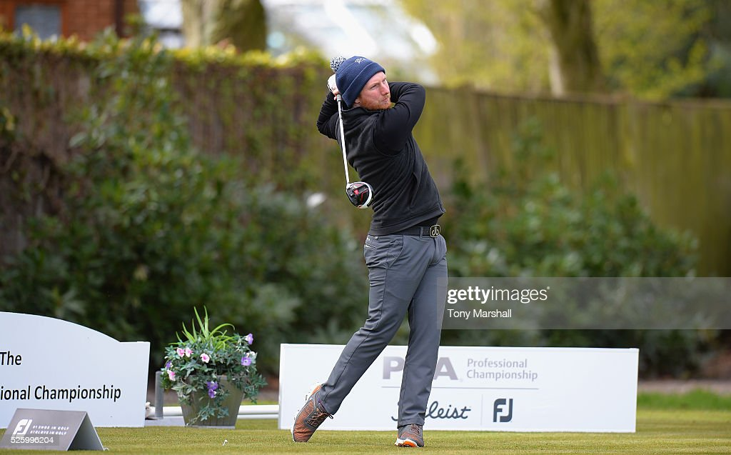 Richard Reed of Glen Gorse Golf Club plays his first shot on the 1st tee during the PGA Professional Championship - Midland Qualifier at Little Aston Golf Club on April 29, 2016 in Sutton Coldfield, England.