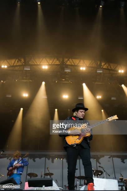 Richard Reed Parry and Win Butler of Arcade Fire perform at Malahide Castle on June 14 2017 in Dublin Ireland