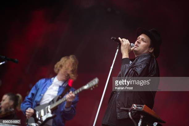 Richard Reed Parry and Win Butler of Arcade Fire performs at Malahide Castle on June 14 2017 in Dublin Ireland