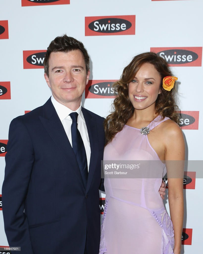 Richard 'Rick' Astley and Jess McNamee attend the Swisse marquee on Stakes Day at Flemington Racecourse on November 10, 2012 in Melbourne, Australia.