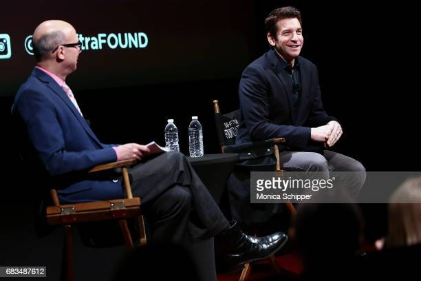 Richard Ridge and actor Andy Karl speak on stage during SAGAFTRA Foundation Conversations On Broadway Andy Karl Moderated by Richard Ridge at...
