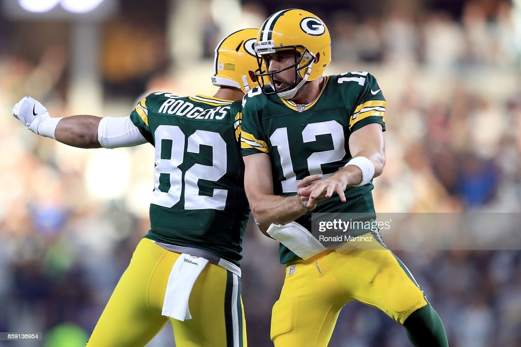 ... Richard Rodgers 82 and Aaron Rodgers 12 of the Green Bay Packers  celebrate the ... fe3eedce6