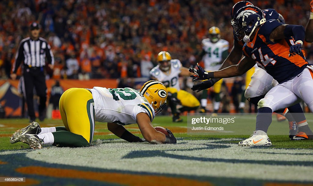 Richard Rodgers #82 of the Green Bay Packers is seen in the fourth quarter against the Denver Broncos at Sports Authority Field at Mile High on November 1, 2015 in Denver, Colorado.