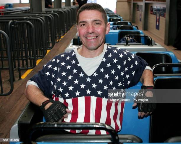 Richard Rodriguez before beginning his rollercoaster marathon world record attempt on Blackpool Pleasure Beach's Pepsi Max Big One