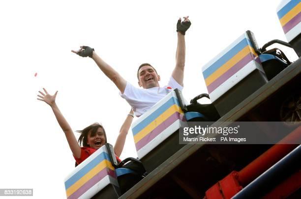 Richard Rodriguez with Abby Tudor begins his rollercoaster marathon world record attempt on Blackpool Pleasure Beach's Pepsi Max Big One