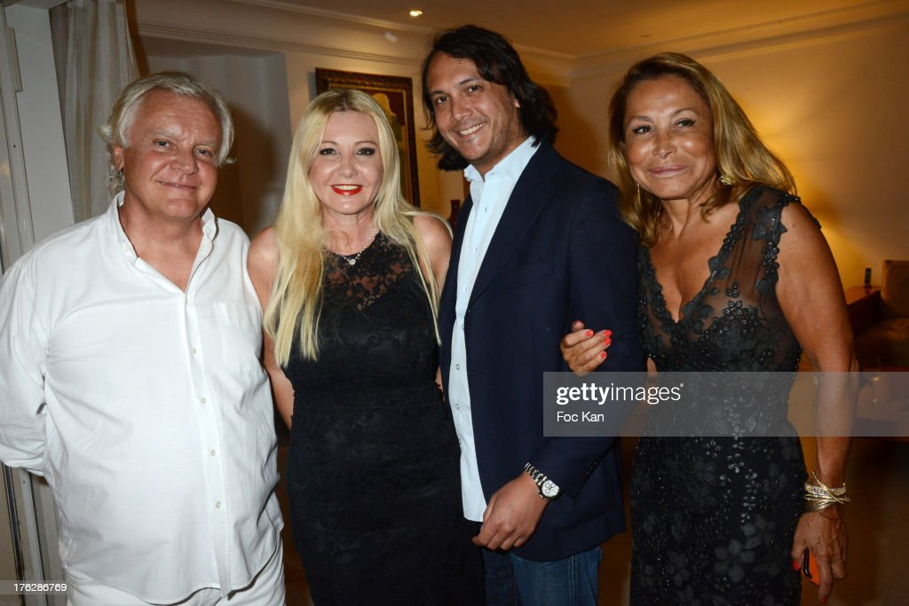 Richard Roizen, Monika Bacardi, David Kane and Mrs Roizen attend the Massimo Gargia's Party hosted by Richard Roizen at Villa Les Acanthes In Saint-Tropez on August 11, 2013 in Saint Tropez, France.