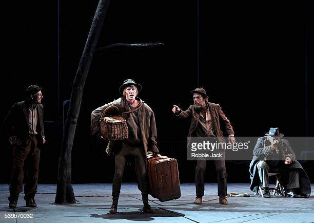 Richard Roxburgh as Estragon Luke Mullins as Lucky Hugo Weaving as Vladimir and Phillip Quast as Pozzo in Sydney Theatre Company's production of...