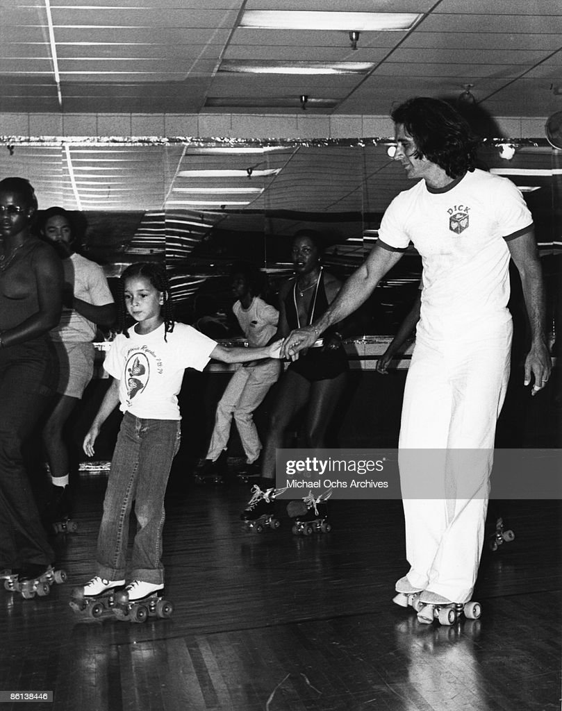 Richard Rudolph and Maya Rudolph, husband and daughter of the late Minnie Riperton roller skate circa 1979 in Los Angeles, California.